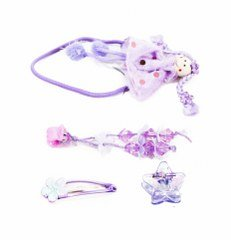 Adorable Girls Princess Set Including Hair Bobbles Grips And Hair Clips In Lilac