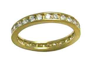 Size 6 1/2 Eternity Channel Cubic Zirconia Band 14k Yellow Gold Ring