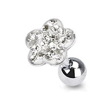 Gekko Body Jewellery Surgical Steel 16 Gauge (1.2mm) Tragus / Cartilage Barbell with Clear Multi-Paved Flower Top