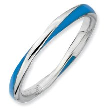Awesome Twisted Blue Enamel Stackable Ring. Sizes 5-10 Available