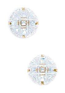 14k Yellow Gold 8mm 9 Segment Round CZ Light Prong Set Earrings - JewelryWeb
