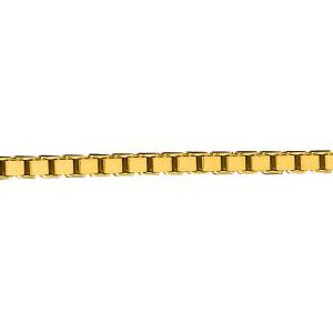 10K Solid Yellow Gold Box Chain Necklace 1.4mm thick 22 Inches