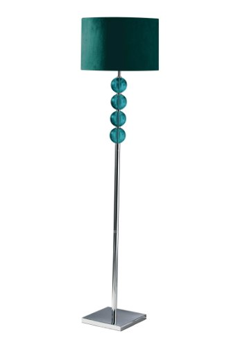 Premier Housewares Mistro Teal Floor Lamp with 4 Glass Balls Chrome Base and Faux Suede Shade