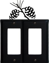 Village Wrought Iron EGG-89 Pine Cone Double GFI Switchplate Cover Black
