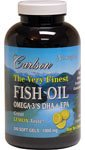 Carlson Labs, The Very Finest Fish Oil, Lemon Flavor, 1000 mg, 240 Soft Gels