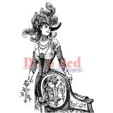 Deep Red Stamps Derby Victorian Girl Rubber Stamp - 1