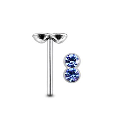 Nose Studs Lavender Double Stone 925 Silver Straight