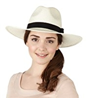 M&S Collection Wide Brim Contrast Band Panama Hat