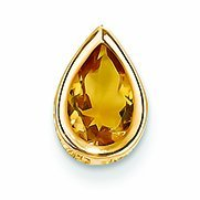 PriceRock 1.3 Carat 14K Gold 9X6mm Pear Citrine Bezel Pendant