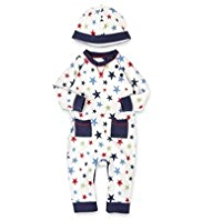 2 Piece Pure Cotton Star Print Onesie with Beanie Hat