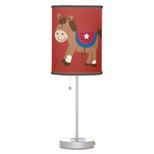 Round 'Em Up Western Horse Nursery Lamp With Red/Brown Trim Shade front-191270