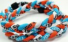 "New! 18"" Kids Size Light Blue Orange White Tornado Necklace With Case"