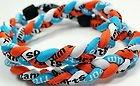 "New! 18"" Kids Size Light Blue Orange White Tornado Necklace With Case"