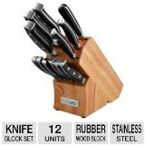 PureLife Ragalta PLKS 2500 Series 13-Piece Forged High Carbon Stainless Steel Cutlery in Wooden Block, Black