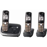 CE - Panasonic KX-TG6513B DECT 6.0 PLUS Expandable Cordless Phone System, Black, 3 Handsets
