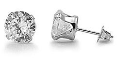 Surgical Stainless Steel Clear Cz Stud Earrings Size (2mm,3mm,4mm,5mm,6mm,7mm,8mm,9mm,10mm...) You Choose Your Size, Comes with Free Gift Box (6mm)