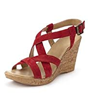 Suede Open Toe Strappy Wedge Sandals