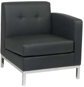 Right Arm Facing Wall Street Modular Component with Chrome Finish Base (Part of Love Seat or Sofa)