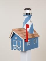 Solar-Lighthouse-Mailbox-Blue-with-White-Trim