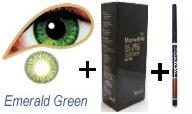 Coloured Contact Lenses with Free Solution & Case - Emerald Green (3 Months)