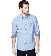 2in Longer Blue Harbour Pure Cotton Slim Fit Striped Oxford Shirt