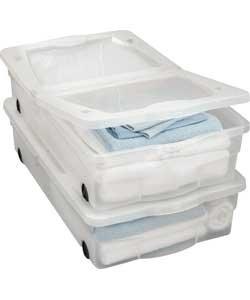 aufbewahrungsboxen kisten unterbettbox kunststoff mit rollen 50 l 2 st ck. Black Bedroom Furniture Sets. Home Design Ideas
