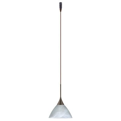 Besa Lighting RXP-174352-BR Domi Collection 1-Light LV Quick-Connect Mini-Pendant with Rail Adapter, Bronze Finish with Marble Glass Shade