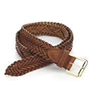M&S Collection Leather Square Buckle Chevron Weave Belt