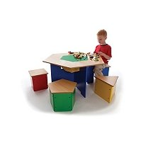 "Kids Wooden ""Shapes"" Table and Stools lego activity table"