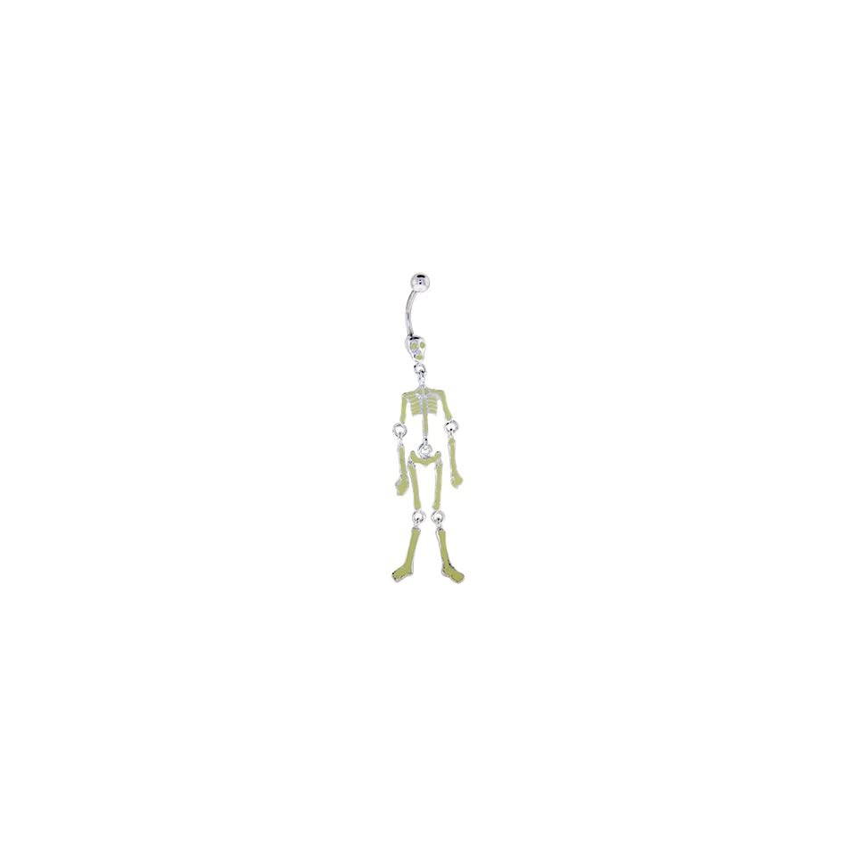 Glow In The Dark Skeleton Bones Dangle Belly Ring