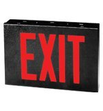 Black Spec Grade Red Led Steel Exit Sign 702-Wb-Bl, High Intensity Leds Wall-Mounted Heavy Duty Overcharge And Brown Out Protected