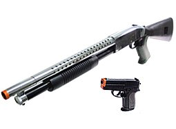CYMA Shotgun & Pistol Silver/Black Airsoft Package.
