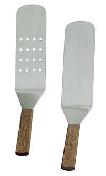 overstockedkitchen New Grill, Turner, Stainless Steel, Riveted Smooth Wood Handle, Commercial Grade, One Perforated & Solid Face Spatula, Set of 2 (Hibachi Grill Accessories compare prices)