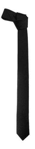 """New Mens Solid Black Retro Skinny Necktie 1.5"""" Tie"""
