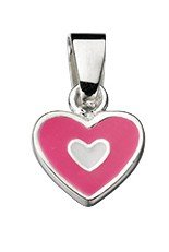 JR Jewellery Sterling Silver Childrens Heart Pendant With Pink & White Enamel Detail - No Chain
