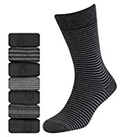 7 Pairs of Freshfeet™ Cotton Rich Monochrome Striped Socks with Silver Technology