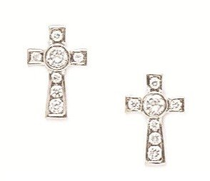 14ct White Gold CZ Medium Cross Screwback Earrings - Measures 11x7mm