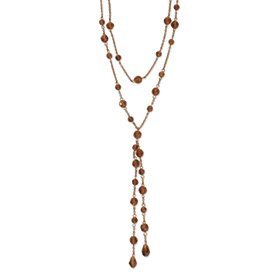 Copper-tone Colorado Crystal Double Strand 28inch Necklace - JewelryWeb