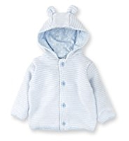 Pure Cotton Ear Hooded Striped Knitted Cardigan
