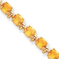 14k Citrine Bracelet - 7 Inch - 7mm - Box Clasp - JewelryWeb