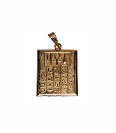 18K Egyptian Jewelry Pendants - Health, Life and Power Sign with Hieroglyphics