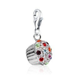 Cupcake Clip Charm .925 Sterling Silver clip on Charm for Charm Bracelets with Swarovski Crystal Elements