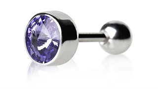 Purple Cartilge Tragus Earring Ear Bar with Faceted Swarovski Crystal in Bezel Setting.