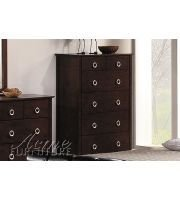 Contemporary Style Deep Cherry Brown Finish Wood Bedroom Chest w/6 Drawers