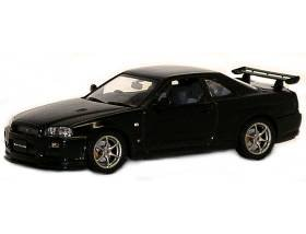 1999 Nissan Skyline GTR R34 V Spec II Diecast Car Model 1/43 Black Pearl Die Cast Car by Autoart 57334 (japan import)