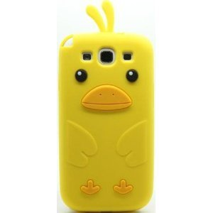 Yellow Funny Lovely Duck 3D Silicone Jelly Skin Soft Rubber Silicone Shell Case Cover For Samsung Galaxy S 3 S3 Iii I9300 front-109053