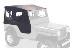Bestop 51402-01 Black Crush Tigertop Complete Replacement Soft Top with Clear Windows-Includes doors- 1946-1949 Jeep CJ2A