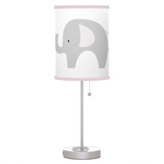 Modern Gray Elephant Nursery Lamp With Light Pink Trim Shade front-188386