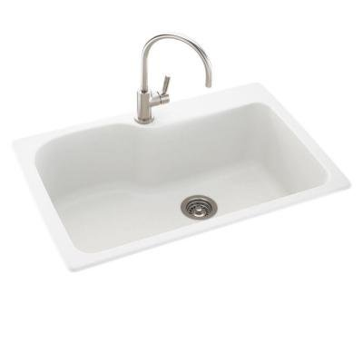 Dual Mount Composite 33x22x10 in. 1-Hole Single Bowl Kitchen Sink in White