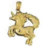 CleverEve 14K Yellow Gold Jumping Unicorn Pendant 10.7 Grams